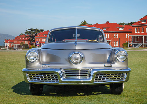 AUT 20 RK0682 01 © Kimball Stock 1948 Tucker Torpedo Gray Front View On Grass By Buildings