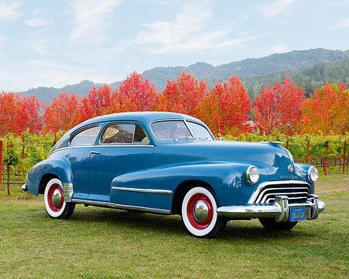 AUT 20 RK0693 01 © Kimball Stock 1948 Oldsmobile 66 Blue 3/4 Front View On Grass By Autumn Vineyard