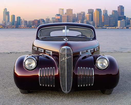 AUT 20 RK0696 01 © Kimball Stock 1940 Cadillac La Salle Candy Brandywine Front View On Pavement By City Skyline