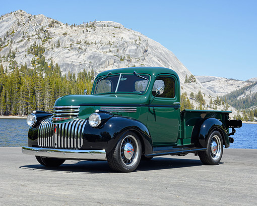 AUT 20 RK0720 01 © Kimball Stock 1946 Chevrolet Pickup Green And Black By Serene Mountain Lake
