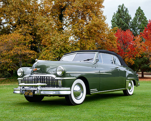 AUT 20 RK0726 01 © Kimball Stock 1949 Desoto Custom Convertible Green 3/4 Front View In Autumn Scene