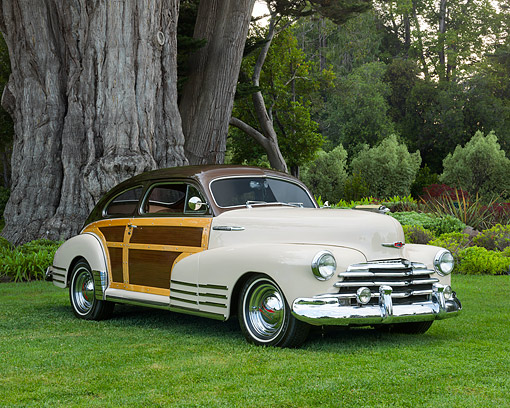 AUT 20 RK0729 01 © Kimball Stock 1947 Chevrolet Aero Sedan Fleetline Brown And Tan 3/4 Front View On Grass By Trees