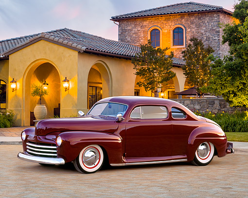 AUT 20 RK0734 01 © Kimball Stock 1948 Burgundy Ford Coupe 3/4 Front View By Mansion