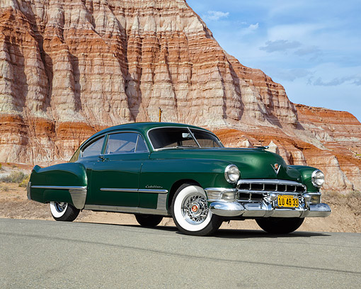 AUT 20 RK0740 01 © Kimball Stock 1948 Cadillac Series 62 2-Door Coupe Green 3/4 Front View In Desert