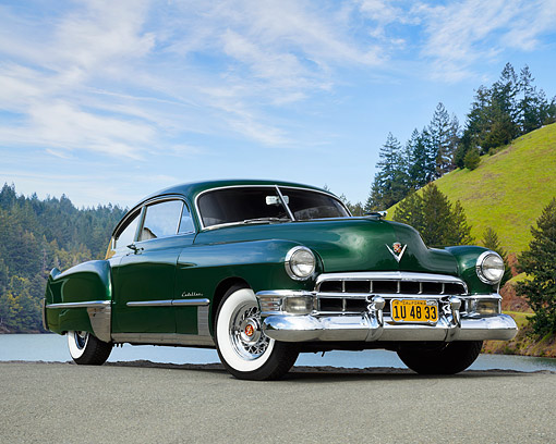 AUT 20 RK0741 01 © Kimball Stock 1948 Cadillac Series 62 2-Door Coupe Green 3/4 Front View By Lake