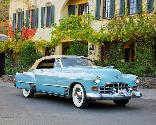 AUT 20 RK0743 01 © Kimball Stock 1948 Cadillac Series 62 Convertible Turquoise By Building