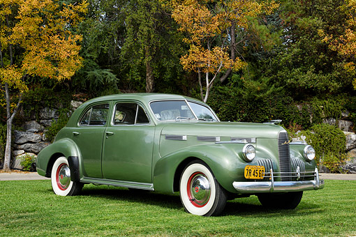 AUT 20 RK0744 01 © Kimball Stock 1940 Cadillac LaSalle Green 3/4 Front View By Trees