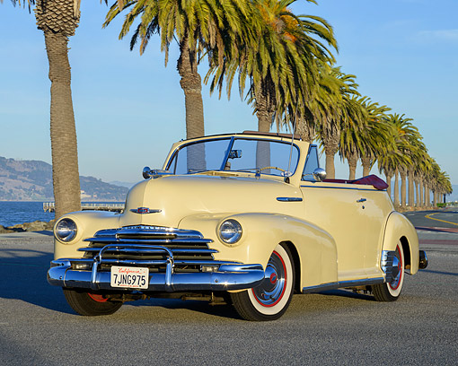 AUT 20 RK0750 01 © Kimball Stock 1947 Chevrolet Fleetmaster 2-Door Convertible Yellow 3/4 Front View By Bay
