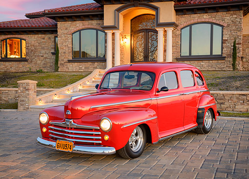 AUT 20 RK0764 01 © Kimball Stock 1947 Ford Super Deluxe Red 3/4 Front View By Mansion