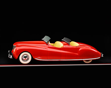AUT 20 RK0003 06 © Kimball Stock 1941 Chrysler Newport Behring Convertible Red Profile View Studio