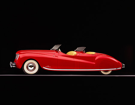 AUT 20 RK0005 05 © Kimball Stock 1941 Chrysler Newport Behring Convertible Red Profile On Gray Line Studio