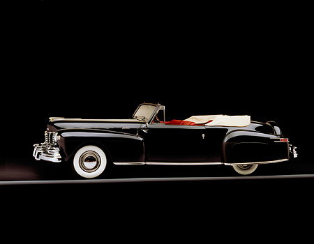 AUT 20 RK0024 05 © Kimball Stock 1948 Lincoln Continental V-12 Cabriolet Black 3/4 Side View On Gray Line Studio