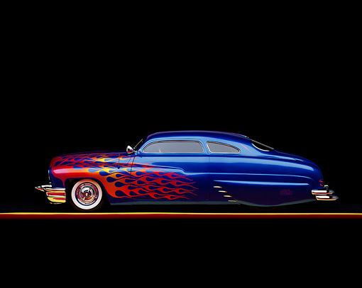 AUT 20 RK0055 02 © Kimball Stock 1949 Mercury Custom Street Rod Blue With Flames Profile On Red Line Studio