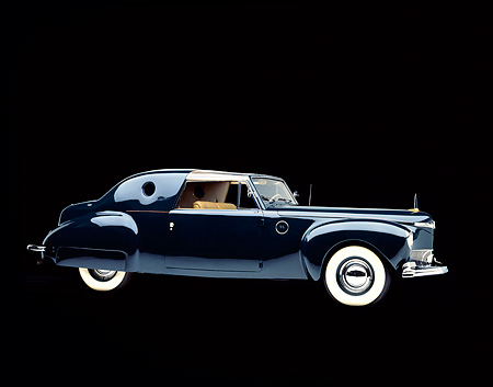 AUT 20 RK0064 08 © Kimball Stock 1941 Lincoln Continental Custom Coupe Black 3/4 Side View Studio