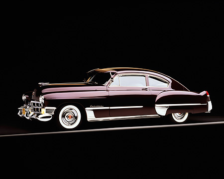 AUT 20 RK0108 02 © Kimball Stock 1949 Cadillac Sedanette Coupe Wildberry 3/4 Side View On Gray Line Top Lighting Studio