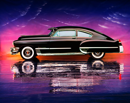 AUT 20 RK0109 09 © Kimball Stock 1949 Cadillac Sedanette Coupe Wildberry Profile View On Mylar Floor Purple Clouds
