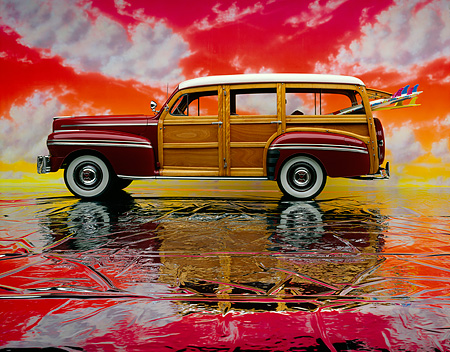 AUT 20 RK0111 02 © Kimball Stock 1947 Mercury Woody Side View With Surfboard On Mylar Floor Colorful Sky Studio