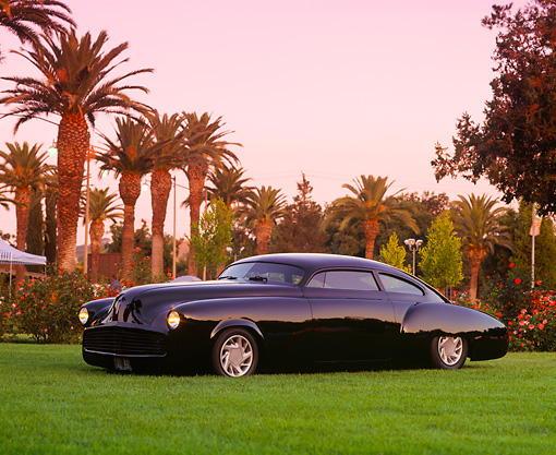 AUT 20 RK0120 05 © Kimball Stock 1949 Black Buick Roadmaster 3/4 Front View On Grass By Palm Trees