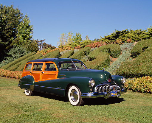 AUT 20 RK0186 01 © Kimball Stock 1948 Buick Roadmaster Estate Wagon Green 3/4 Front View On Grass By Bushes