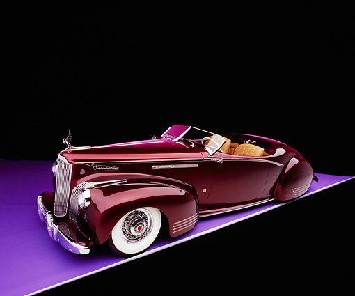 AUT 20 RK0229 03 © Kimball Stock 1941 Packard Convertible Custom Burgundy