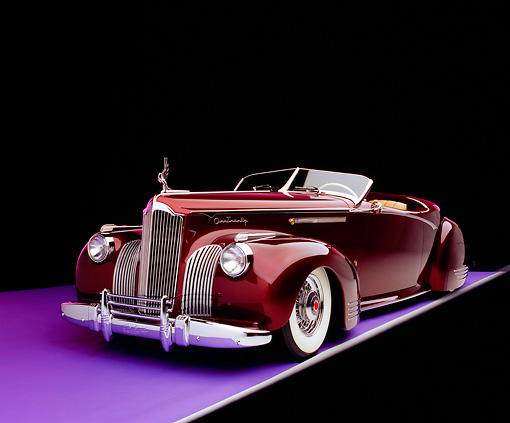 AUT 20 RK0230 04 © Kimball Stock 1941 Packard Convertible Custom Burgundy