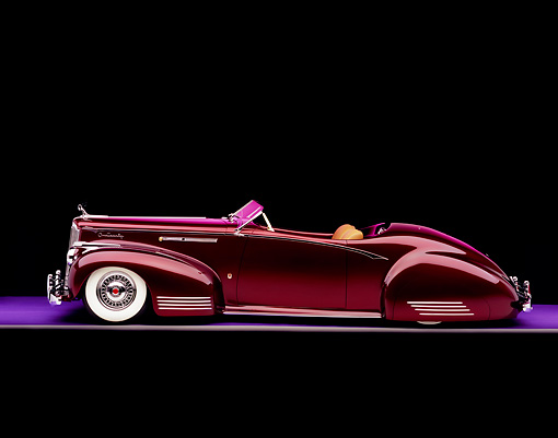 AUT 20 RK0233 03 © Kimball Stock 1941 Packard Convertible Custom Burgundy
