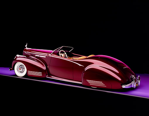 AUT 20 RK0234 02 © Kimball Stock 1941 Packard Convertible Custom Burgundy