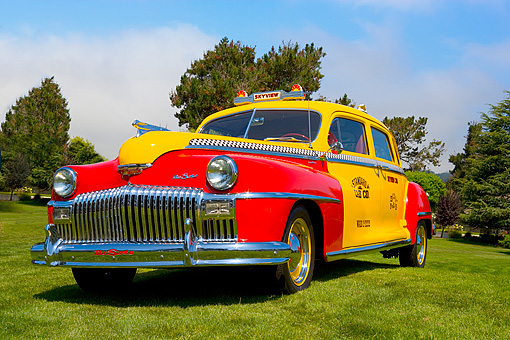 AUT 20 RK0304 01 © Kimball Stock 1946 De Soto Taxi Cab Red And Yellow Low 3/4 Front View On Grass