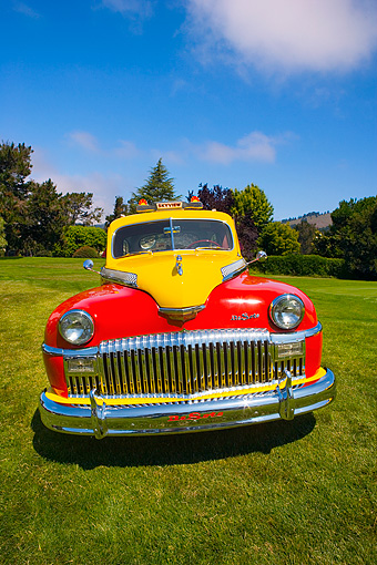 AUT 20 RK0306 01 © Kimball Stock 1946 De Soto Taxi Cab Red And Yellow Head On View On Grass