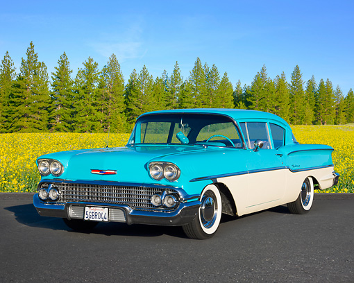 AUT 21 BK0048 01 © Kimball Stock 1958 Chevrolet Delray Turquoise And White 3/4 Front View On Pavement By Wildflowers And Pine Trees