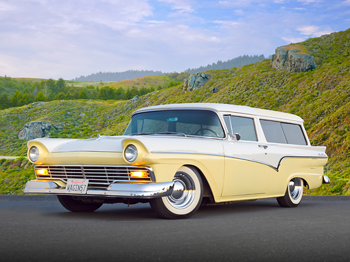 AUT 21 BK0054 01 © Kimball Stock 1957 Ford Del Rio Ranch Wagon Yellow And White 3/4 Front View On Pavement By Grassy Hills