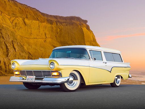 AUT 21 BK0055 01 © Kimball Stock 1957 Ford Del Rio Ranch Wagon Yellow And White 3/4 Front View On Pavement By Beach