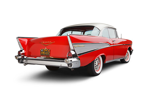 AUT 21 BK0063 01 © Kimball Stock 1957 Chevrolet Bel Air Red And White 3/4 Rear View On White Seamless