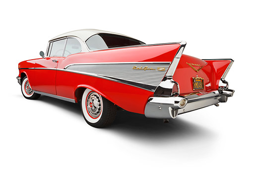 AUT 21 BK0064 01 © Kimball Stock 1957 Chevrolet Bel Air Red And White 3/4 Rear View On White Seamless