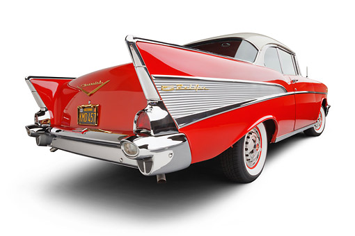 AUT 21 BK0068 01 © Kimball Stock 1957 Chevrolet Bel Air Red And White 3/4 Rear View On White Seamless