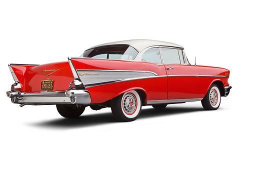 AUT 21 BK0073 01 © Kimball Stock 1957 Chevrolet Bel Air Red And White 3/4 Rear View On White Seamless