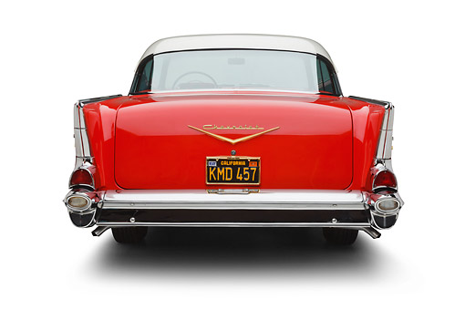 AUT 21 BK0075 01 © Kimball Stock 1957 Chevrolet Bel Air Red And White Rear View On White Seamless