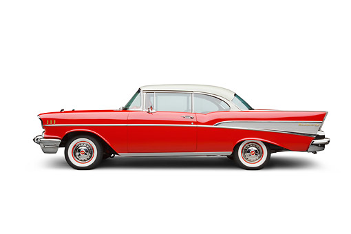 AUT 21 BK0093 01 © Kimball Stock 1957 Chevrolet Bel Air Red And White Profile View On White Seamless