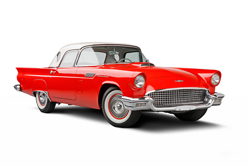 AUT 21 BK0095 01 © Kimball Stock 1957 Ford Thunderbird Red With White Top 3/4 Front View On White Seamless