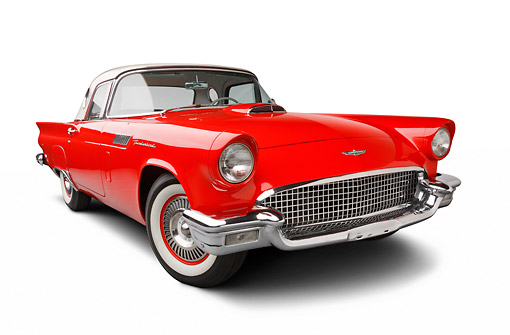 AUT 21 BK0097 01 © Kimball Stock 1957 Ford Thunderbird Red With White Top 3/4 Front View On White Seamless