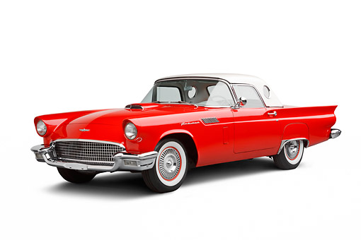 AUT 21 BK0099 01 © Kimball Stock 1957 Ford Thunderbird Red With White Top 3/4 Front View On White Seamless