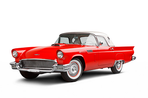 AUT 21 BK0100 01 © Kimball Stock 1957 Ford Thunderbird Red With White Top 3/4 Front View On White Seamless