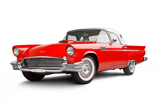 AUT 21 BK0101 01 © Kimball Stock 1957 Ford Thunderbird Red With White Top 3/4 Front View On White Seamless
