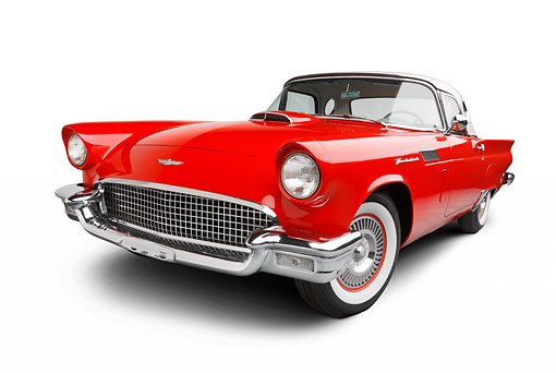 AUT 21 BK0103 01 © Kimball Stock 1957 Ford Thunderbird Red With White Top 3/4 Front View On White Seamless