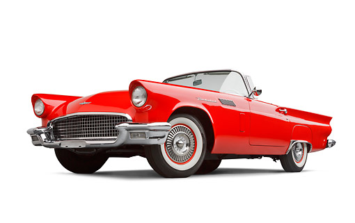 AUT 21 BK0109 01 © Kimball Stock 1957 Ford Thunderbird Red With White Top 3/4 Front View On White Seamless