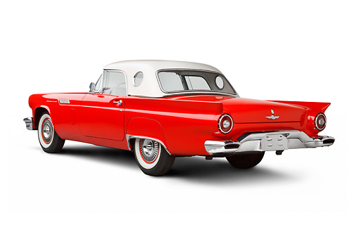 AUT 21 BK0115 01 © Kimball Stock 1957 Ford Thunderbird Red With White Top 3/4 Rear View On White Seamless