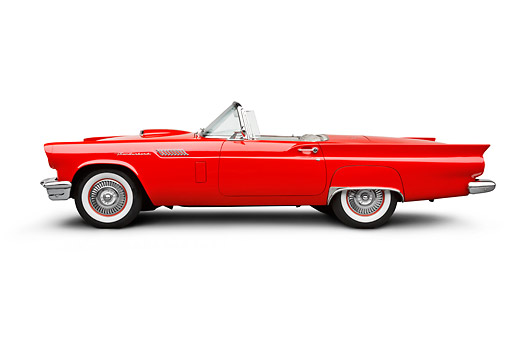AUT 21 BK0116 01 © Kimball Stock 1957 Ford Thunderbird Red With White Top Profile View On White Seamless