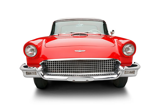 AUT 21 BK0120 01 © Kimball Stock 1957 Ford Thunderbird Red With White Top Front View On White Seamless