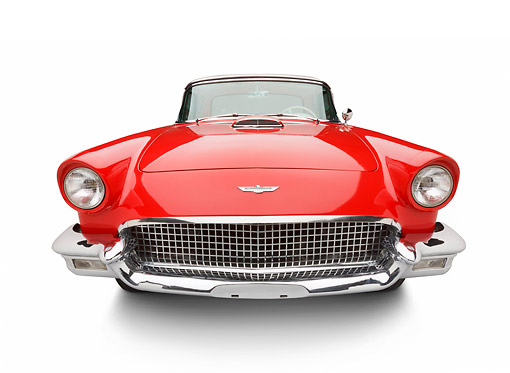 AUT 21 BK0121 01 © Kimball Stock 1957 Ford Thunderbird Red With White Top Front View On White Seamless