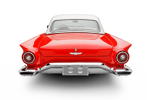AUT 21 BK0122 01 © Kimball Stock 1957 Ford Thunderbird Red With White Top Rear View On White Seamless